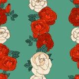 Modelo inconsútil con las rosas Foto de archivo