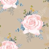 Modelo inconsútil con las rosas beige con las hierbas amarillas y suculento azul libre illustration