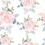 Modelo inconsútil con las rosas beige con las hierbas amarillas y suculento azul stock de ilustración