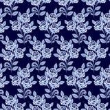 Modelo inconsútil con las rosas en sombras del azul Imagen de archivo