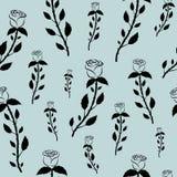Modelo inconsútil con las rosas negras en un fondo gris azul en colores pastel ilustración del vector