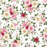 Modelo inconsútil con las rosas rojas, rosadas y blancas Ilustración del vector ilustración del vector