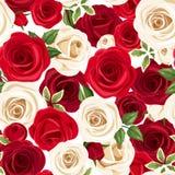 Modelo inconsútil con las rosas rojas y blancas Ilustración del vector Fotos de archivo
