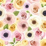 Modelo inconsútil con las rosas rojas y blancas Ilustración del vector Imagen de archivo libre de regalías