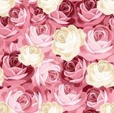 Modelo inconsútil con las rosas rosadas y blancas. Imágenes de archivo libres de regalías