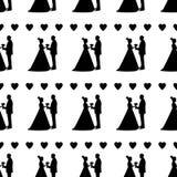 Modelo inconsútil con las siluetas negras de la novia y del novio, Imagen de archivo libre de regalías