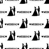 Modelo inconsútil con las siluetas negras de la novia y del novio, Imagenes de archivo