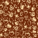 Modelo inconsútil con las tazas de café Imágenes de archivo libres de regalías