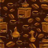 Modelo inconsútil con las tazas de café handdrawn, habas Imagen de archivo