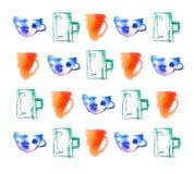 Modelo inconsútil con las tazas Fondo a mano Dibujo real de la acuarela Imagen de archivo