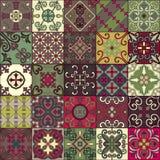 Modelo inconsútil con las tejas portuguesas en el estilo de Talavera Azulejo, marroquí, ornamentos mexicanos stock de ilustración