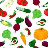 Modelo inconsútil con las verduras coloreadas Ejemplo de la comida fresca imagen de archivo libre de regalías