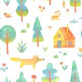 Modelo inconsútil con los árboles, casa, animal de la acuarela aislado en el fondo blanco Imagenes de archivo