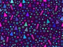 Modelo inconsútil con los árboles de navidad y los copos de nieve Modelo de la Navidad stock de ilustración