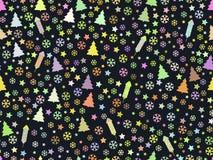 Modelo inconsútil con los árboles de navidad y los copos de nieve Modelo de la Navidad ilustración del vector