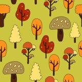 Modelo inconsútil con los árboles del otoño Ilustración del vector Foto de archivo libre de regalías
