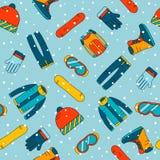 Modelo inconsútil con los accesorios para la snowboard Iconos extremos de los deportes de invierno Imagen de archivo libre de regalías
