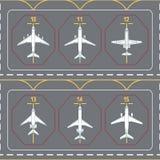 Modelo inconsútil con los aeroplanos en el delantal terminal Foto de archivo libre de regalías