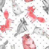 Modelo inconsútil con los animales del bosque de la historieta stock de ilustración
