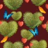 Modelo inconsútil con los arbustos bajo la forma de corazones y mariposas En un fondo rojo oscuro imágenes de archivo libres de regalías