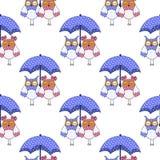 Modelo inconsútil con los búhos en amor y paraguas Foto de archivo