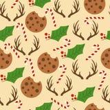 Modelo inconsútil con los bastones de caramelo, muérdago, reinde de la Navidad stock de ilustración