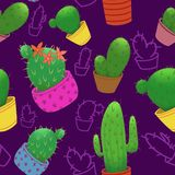 Modelo inconsútil con los cactus en potes en fondo púrpura stock de ilustración