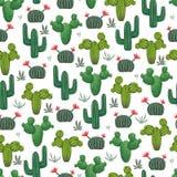 Modelo inconsútil con los cactus, los succulents y los elementos florales