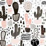 Modelo inconsútil con los cactus y las texturas dibujadas mano Perfeccione para la tela, materia textil Fondo del vector Fotos de archivo libres de regalías