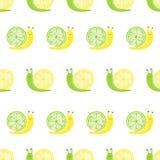 Modelo inconsútil con los caracoles lindos del limón y de la cal libre illustration