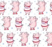 Modelo inconsútil con los cerdos lindos de la historieta ilustración del vector
