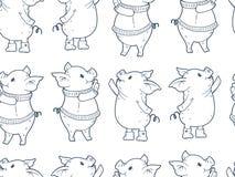 Modelo inconsútil con los cerdos lindos de la historieta stock de ilustración