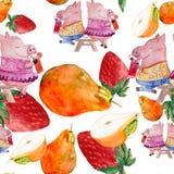 Modelo inconsútil con los cerdos y las frutas de los caracteres de la acuarela ilustración del vector