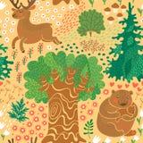 Modelo inconsútil con los ciervos, osos en el bosque. Fotos de archivo libres de regalías