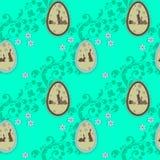 Modelo inconsútil con los conejos de Pascua Foto de archivo