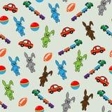 Modelo inconsútil con los conejos, los coches y las locomotoras Fotografía de archivo