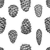 Modelo inconsútil con los conos del pino libre illustration
