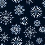Modelo inconsútil con los copos de nieve estilizados Foto de archivo libre de regalías