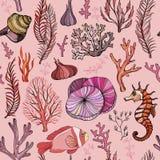 Modelo inconsútil con los corales exhaustos de la mano marina stock de ilustración