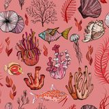 Modelo inconsútil con los corales exhaustos de la mano marina siluetas libre illustration