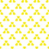 Modelo inconsútil con los corazones amarillos Ilustración drenada mano del vector Elementos decorativos para el diseño trabajo de ilustración del vector