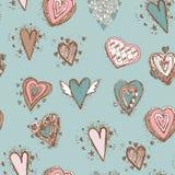 Modelo inconsútil con los corazones Azul, rosado, marrón Imagenes de archivo
