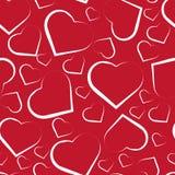 Modelo inconsútil con los corazones blancos en rojo ilustración del vector