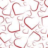 Modelo inconsútil con los corazones blancos en rojo stock de ilustración