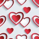 Modelo inconsútil con los corazones 3d para la tarjeta del día de San Valentín del día Foto de archivo libre de regalías