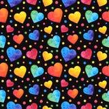 Modelo inconsútil con los corazones de la acuarela, fondo de día de San Valentín, textura, envolviendo Vector eps10 stock de ilustración
