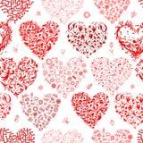 Modelo inconsútil con los corazones de la tarjeta del día de San Valentín para su Fotos de archivo libres de regalías