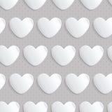 Modelo inconsútil con los corazones de papel Imagenes de archivo