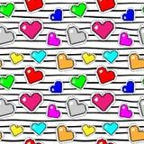 Modelo inconsútil con los corazones del pixel Fondo del vector ilustración del vector