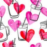 Modelo inconsútil con los corazones del smoothie y de la acuarela stock de ilustración